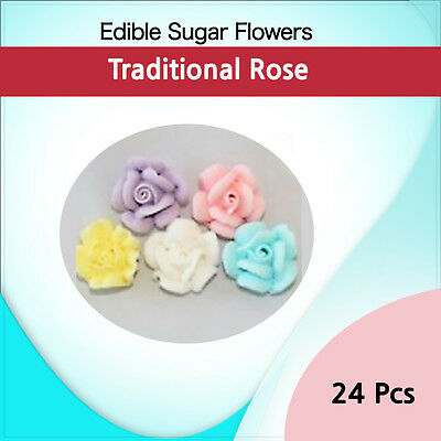 Edible Sugar Flowers 24 Traditional Rose  Cupcake Boxes Decoration Toppers