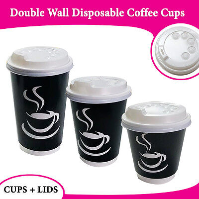 Disposable Coffee Cups + Lids 500 Pc/Per Pk 12oz Double Wall Take Away Cup Party