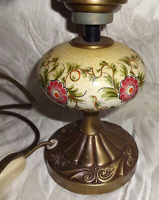 Vintage Kaiser Leuchten Germany Table Lamp Pink Floral w Etched Glass Shade