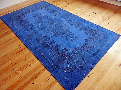 "Overdyed Rug Blue Colors 5'4"" x 10'4"" Vintage Turkish Carpet Over-dyed Rug"