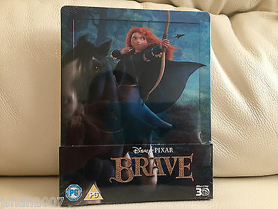 Disney Pixar Brave Zavvi Exclusive Steelbook Blu Ray 3D **new & Sealed**