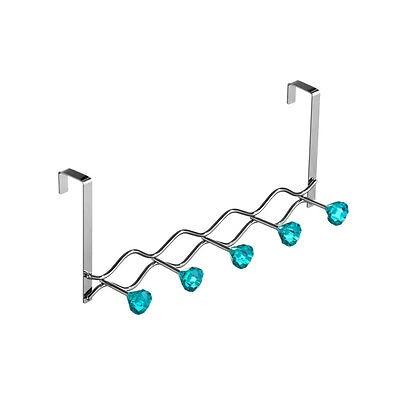 5 HOOK TEAL DIAMANTES Chrome Over Door Hanger Home Shelving Storage Accessory
