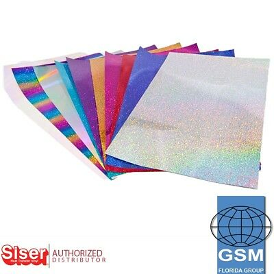 """SISER HOLOGRAPHIC Heat Transfer Vinyl 20""""X 1 yd Choose From 14 COLORS"""