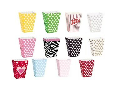 8 Party Popcorn Treat Boxes Polka Dot Loot Bags Birthday Paper Bags Cinema sweet