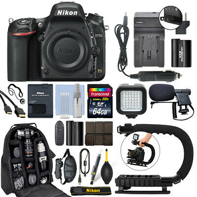 Nikon D750 24.3 MP FX Digital SLR Camera Body + 64GB Pro Video Kit