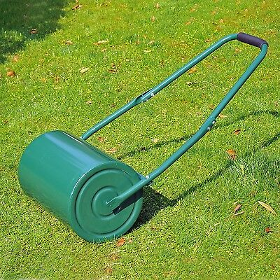Garden Grass Lawn Roller Large Heavy Duty Metal Cylinder Sand or Water Filled