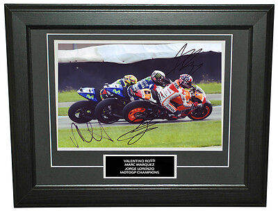 Valentino Rossi, Marc Marquez & J Lorenzo Signed 8X12 inches MotoGP Photo Frame