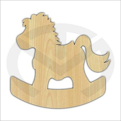 Unfinished Wood Rocking Horse Laser Cutout, Wreath Accent, Door Hanger
