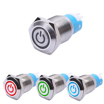 16mm 12V Car Aluminum LED Light Power Push Button Metal ON/OFF Switch Latching