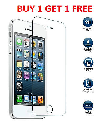 New 100% Genuine Tempered Glass Screen Protector fit for Apple iPhone 5 5S 5C SE
