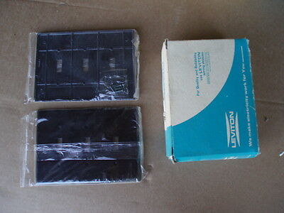 Box of 10 vintage Leviton #80511 Brown bakelite wall plates; 3 toggle 3 gang