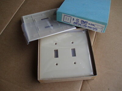 NOS Box of 5 Ivory Eagle Bakelite Jumbo 2 Gang 2 toggle receptacle plates #2149