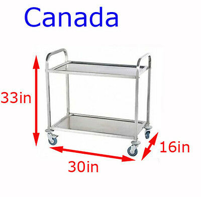 Commercial 2-Shelf Stainless Steel kitchen restaurant Utility Cart with casters