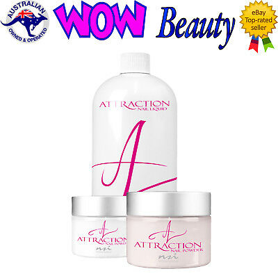 NSI Attraction Acrylic Nail Liquid + 2 x 40g Acrylic Powders + Free Gift