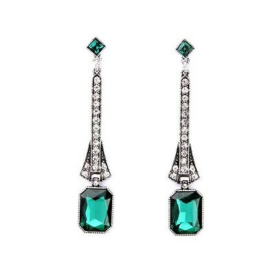 Art Deco Vintage Emerald Green and Clear Rhinestone Silver Drop Earrings