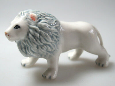 Handicraft Miniature Collectible Ceramic Porcelain White Lion Figurine Wildlife