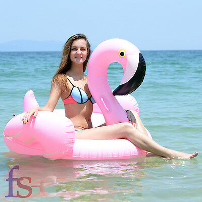 Giant Inflatable Swimming Pool Ring Giant Rideable Pink Flamingo Water Float Toy