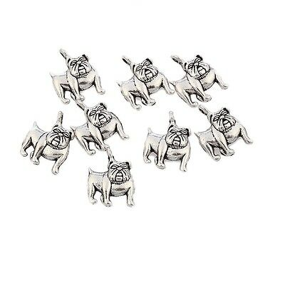 10pcs Bull Dogs Tibetan Silver Bead Charms Pendants Fit DIY 15*16mm