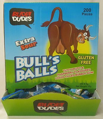 1Kg Box Of 200 Extra Sour Bull's Balls Tutti Frutti & Raspberry Bubble Gum