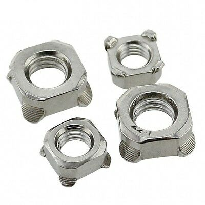 Qty 10 - M4 x 0.7mm Pitch Square Nuts Welding Nuts 304 A2 Stainless Steel DIN928