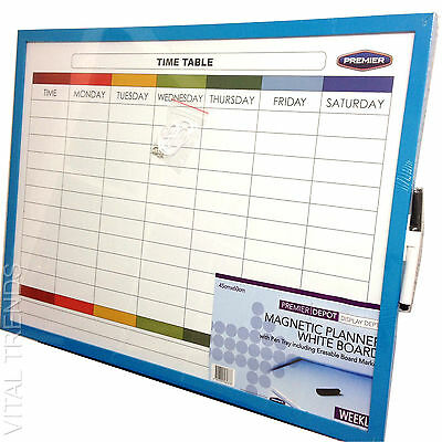 Weekly Planner White Board Memo Board Time Schedule With Dry Wipe Marker