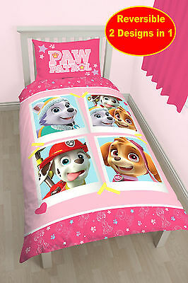 New Paw Patrol Stars Single Duvet Quilt Cover Set Girls Pink Bedroom Bed Set