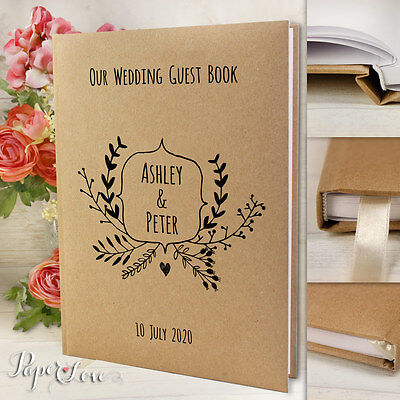 Kraft Brown Eco Personalised Wedding Guest Book Rustic Handmade White Pages