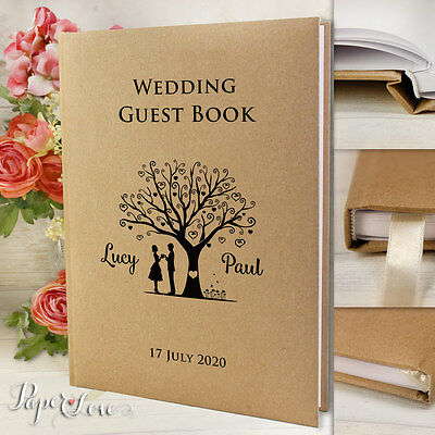 Personalised Wedding Guest Book Rustic Kraft Brown A4 Love Tree Couple 50 Pages