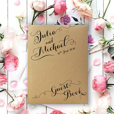 Luxury Handmade Rustic Personalised Guest book Christening Anniversary