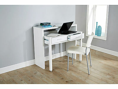 New Regis Extending Console Dresser Home Office Table White Wood Computer Desk