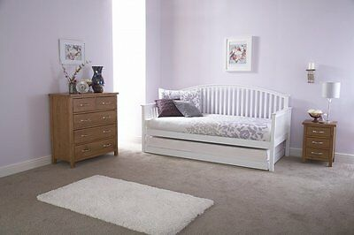 Wooden Shaker Style Day Bed + Trundle Curved Head White or Oak Mattress options