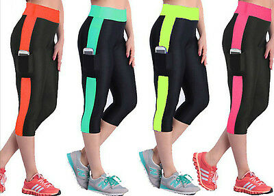 Ladies Yoga Exercise Shorts Women Running Gym Fitness 3/4 Three Quarter Pants
