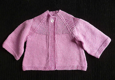 Baby clothes GIRL 18-24m pink knitted soft handmade cardigan 32cm x 34cm long