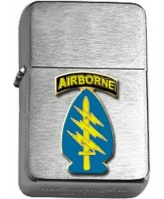US Army Airborne Special Forces Brushed Chrome Star Lighter