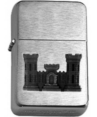 US Army Corps of Engineers Black Insignia Brushed Chrome Star Lighter
