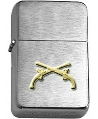 US Army Military Police MP Crossed Pistols Chrome Star Lighter