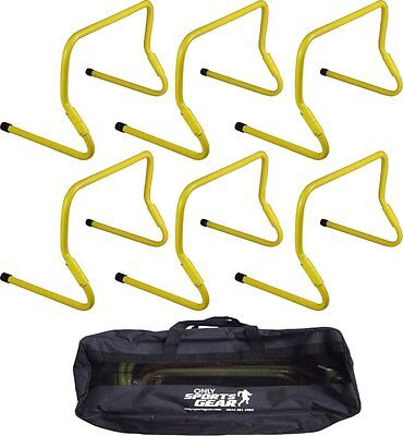 """Sportsgear Set Of 6 Adjustable Speed Agility Hurdles Set 6""""-12"""" With Carry Bag"""