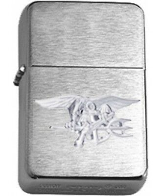US Navy SEAL Silver Insignia Brushed Chrome Star Lighter