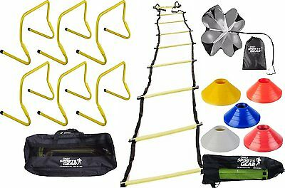 Speed Agility Soccer Crossfit Training Combo Hurdles Ladder Chute & Marker Cones