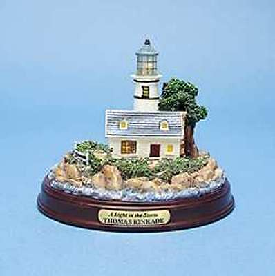 "Thomas Kinkade NIB LIGHTED COLLECTIBLE LIGHTHOUSE FIGURINE ""Light in the Storm"""