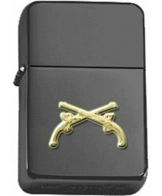 US Army MP Military Police Crossed Pistols Insignia Black Matte Star Lighter