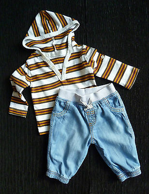 Baby clothes BOY 0-3mNEXT/Early Day outfit cotton-lined jeans/hooded stripe top