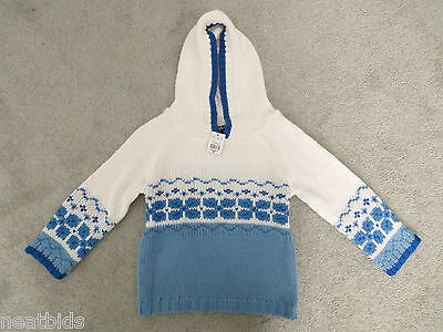 4T Unisex Boy Girl Children's Place Woolen White Blue Hooded Knitted Sweater