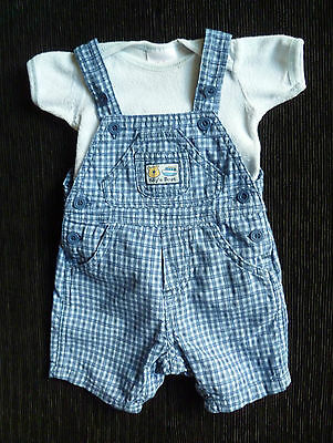 Baby clothes BOY 0-3m Ladybird blue check dungarees/Baby towelling bodysuit/top