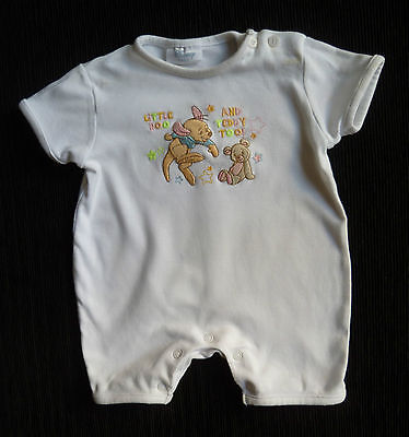Baby clothes GIRL 0-3m Disney Little Roo white embroidered romper brushed cotton