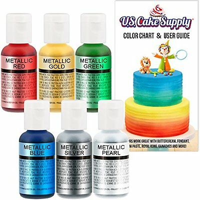 Food Coloring 6 Metallic Color Set Use On Cakes Fondant Pastries