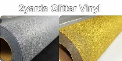 "19""x2yards Glitter Vinyl Silver and Gold Color Heat Press Transfer DIY T-shirts"
