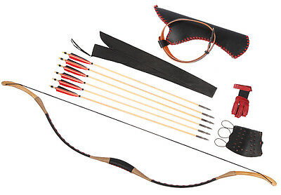 Archery Hunting Cow leather Longbow Set 20-110lb Bow Recurve Bow + 6 Wood Quiver