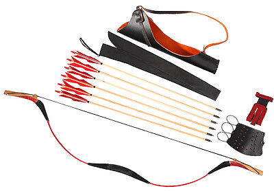 20-110lb Archery Red Snakeskin Recurve Longbow Set + 6 Wood Arrows + Quiver