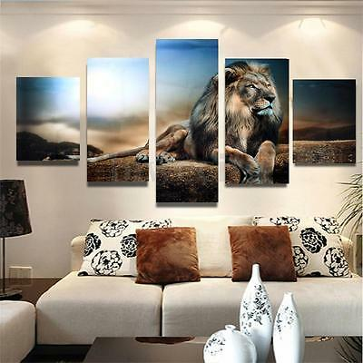 5 Panel Frameless Sitting Lion Canvas Print Art Painting Picture Home Wall Decor